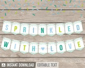 Baby Sprinkles Banner - Boy Baby Shower - Baby Sprinkle - INSTANT DOWNLOAD - Printable PDF with Editable Text