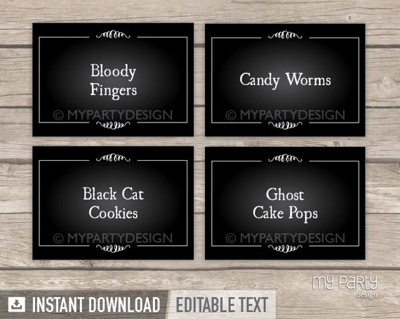 Halloween Food Tent labels printable. Halloween Buffet ... |Halloween Party Food Labels