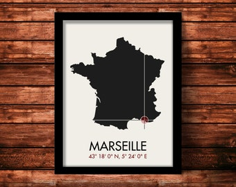 Marseille Map Print | Marseille Map Art | Marseille Print | Marseille Gift | France Map | 11 x 14 Print