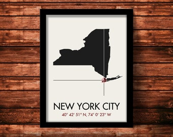 New York City Map Print | New York City Map Art | New York City Print | New York City Gift | New York Map | 11 x 14 Print