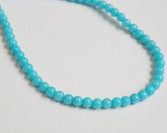 Turquoise Blue Sponge Quartz gemstone round 4mm half strand BF32