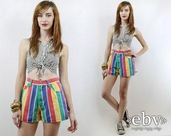 Vintage 90s High Waisted Striped Denim Shorts XS S High Waisted Shorts High Waist Shorts Striped Shorts Jean Shorts Summer Shorts