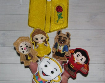 Belle finger puppets and case embroidery design digital instant download