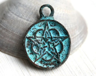 Pentacle pendant, Pentagram charm, Verdigris Patina, Greek beads, metal pentacle charm - 1pc - F280