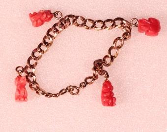 Vintage 50s Bracelet Dangle Bracelet Gold Tone Link Bracelet Natural Decorative Stone Bracelet Pet Bracelet French Jewelry