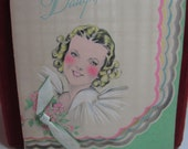 Gorgeous unused 1930's colorful art deco die cut birthday card to daughter graphics baby through teen years to young adult grosgrain ribbon