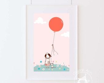 Palloncino - Nursery Decor - Fine Art print -Kids room decor - Wall art balloon adorable baby girl illustration, pink, flowers, cute cat
