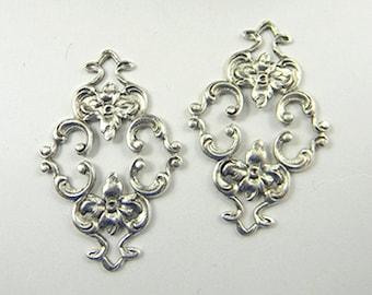 Antiqued Silver Filigree, Brass Diamond Filigree, Flower Connector, Brass Stamping, Wrap 23mm x 36mm- 2 pcs. (sl130)