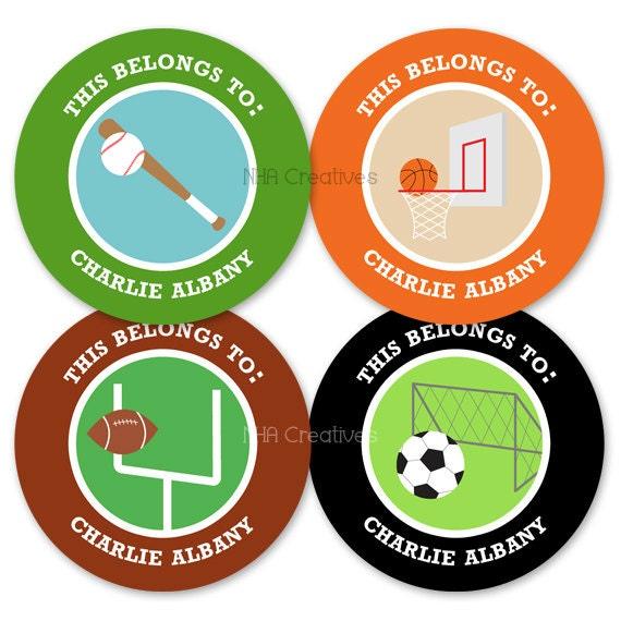 Personalized Name Labels - Sports - DIY Printable Digital File