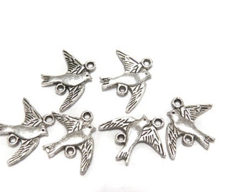 6 Silver plated bird charms