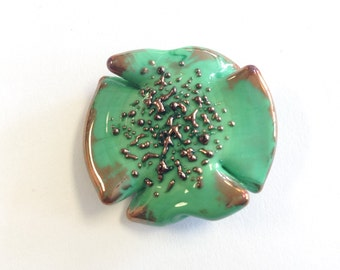 Czech green and copper tabular lamp Bead