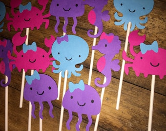 Girly Under the Sea Cupcake/ Treat Toppers Set of 12 Pink, blue, purple