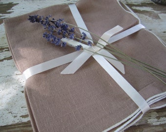 Linen Napkins Cocoa Brown New Old Stock