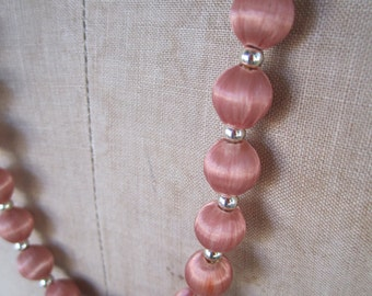 Vintage Satin Bead Necklace in Light Salmon Coral Spun Satin Beads Necklace 60s Dusky Pink 32 inch