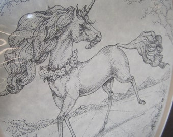Unicorn Black and White drawing Handmade unframed print matted 80s numbered print pen Alicia Stark