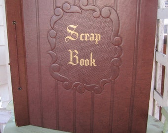Vintage Scrap Book Faux Leather Brown Embossed Cover Gold Lettering add pages Scrapbook