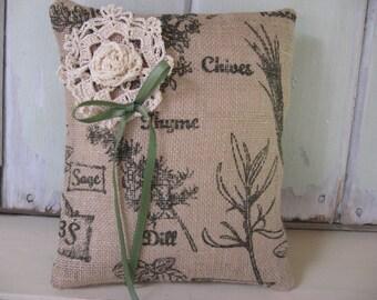 Pillow Small Burlap Dark Olive Herb Print Ecru Ribbon on Tan 9x10 Home Decor Accent Pillow