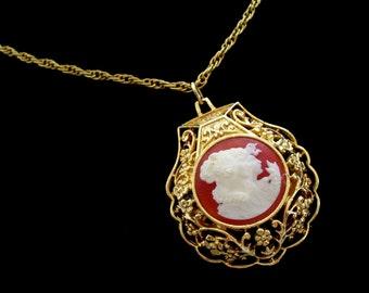 Cameo Perfume Locket, Vintage Floral Filigree Pendant Necklace, Solid Perfume Pendant