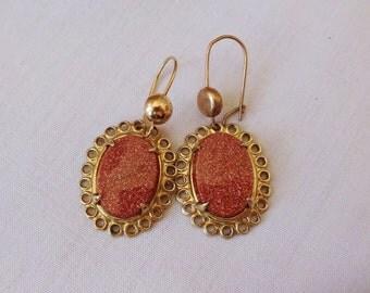 Earrings Antique Vintage ART DECO Goldstone Filigree Dangle Earrings  Elegant  Gorgeous! Vintage Jewelry By Vintagelady7