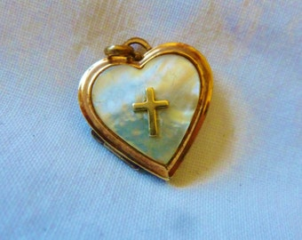 Vintage Locket Antique Victorian 12K GF Locket Pendant  Mother Of Pearl Repousse Locket Pendant  Vintage Jewelry By Vintagelady7