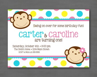 Monkey Boy and/or Girl Twin Birthday Party Invitation