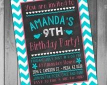 Slumber Party Girl Birthday Invitation Girl Birthday Party Printable Birthday Invitation Chevron Birthday Invitation Chalkboard Birthday