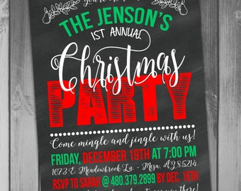 Christmas Party Invitation Holiday Party Jingle All Chalkboard Invitation Printable Christmas Holiday Invitation Winter Invitation