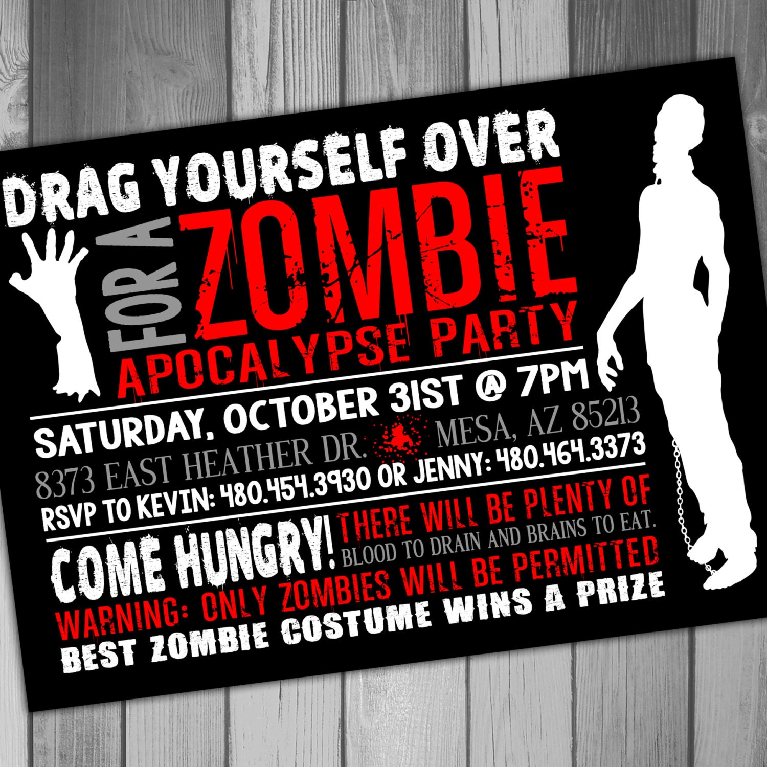 halloween party invitation zombie party costume party, Party invitations