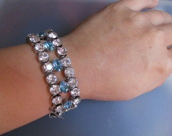Vintage Retro 1950s 50s Signed Joseph Wiesner Silver Tone Metal Clear and Blue Aquamarine Rhinestone Crystal Bracelet