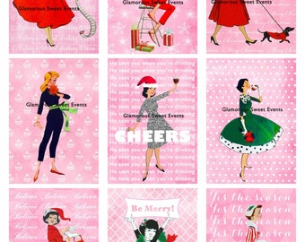 INSTANT DOWNLOAD, Christmas Tags, Retro Christmas Tags, atc Cards, Christmas  Labels, Digital Collage Sheet, Holiday Tag