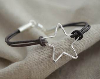 Silver Star Bracelet - Leather - Shine all Day