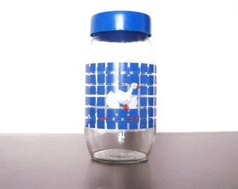 2L 1980s Carlton Glass Jar Duck Cannister Vintage Retro Modern Blue