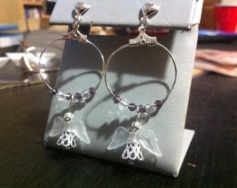 Purple angel hoop earrings
