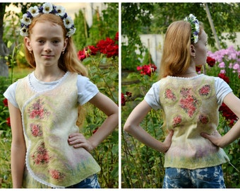 Young girls top - vest, 5-6 years teenager clothes, natural white, floral pattern, Baby wool Sweater, Eco Friendly, Childrens clothes