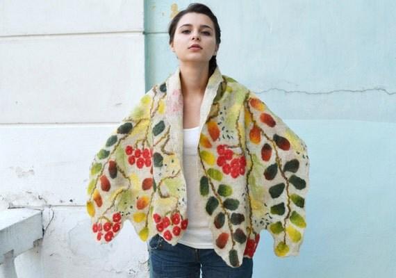 Felted Wool Shawl, beige Shawl, with rowan berries, Cobweb Shrug,  Felted Scarf, Women's Shawl, Winter Shawl, Felt Wrap