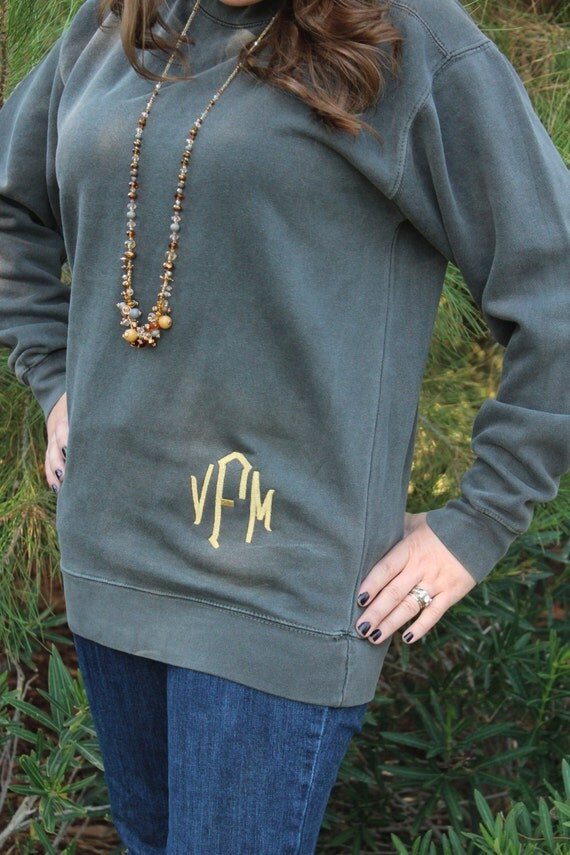 comfort colors monogrammed sweatshirt  distressed sweat shirt for woman w   embroidered monogram