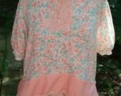 Upcycled Women's Peach Long Size Large Shirt