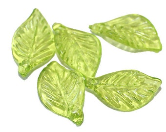 50 Light Green Leaf Charm Acrylic - AC101