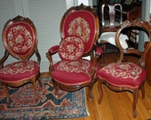 Price Reduced Antique VICTORIAN FURNITURE C 1865 3 MATCHED Pieces Gentleman's Lady's & Side Chair Louis X V  Oval Back Needlepoint No Ship
