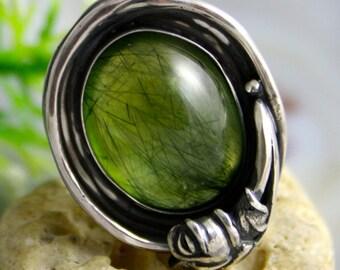 Prehnite Stone Sterling Silver Ring Izovella Jewelry