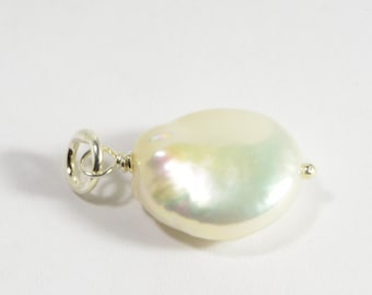 Pearl Pendant wire wrapped sterling silver Add Dangle