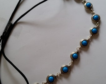Turquoise Blue Stone Silver Plated Elastic Headband, for weddings, parties, special occasions