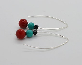 Turquoise Red Coral And Black Onyx Sterling Silver Earrings 01