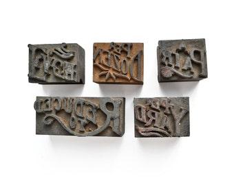instant collection of wooden letterpress blocks, vintage mercantile, sign making, from Elizabeth Rosen