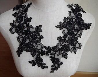 black Lace Applique, black alencon lace applique, 2 pcs CGDH034