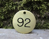 Number 92 Tag Brass Metal #92 Industrial Tag 1992 Birth Year Vintage Styled Keychain Token Address House Number Jewelry Supply 1 1/2 Inch