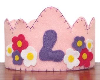 Felt Birthday Crown Girl, Light Pink -Flowers- Customized Letter