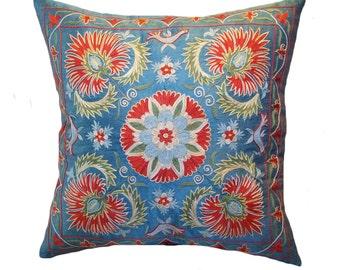 Handmade Suzani Pillow Cover emp9-21, Suzani Pillow, Uzbek Suzani, Suzani Throw, Suzani, Decorative pillows, Accent pillows
