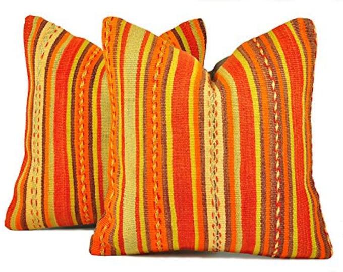 Set of 2 Kilim pillow covers, skp9-10, Kilim Pillow, Turkish Pillow, Kilim Cushions, Kilim, Moroccan Pillow, Bohemian Pillow, Turkish Kilim
