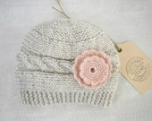 Knit  Baby Hat, Baby Girl Hat,  Baby Girl Flower Beanie,  Baby Hat, Photo Prop, Ready to ship size 0 to 3 months,
